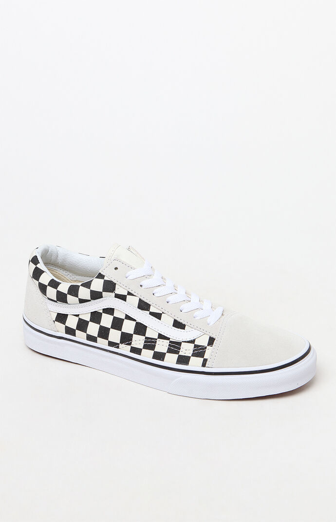 9b1613fe5cb Vans White Black Checkerboard Old Skool Shoes