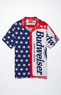x Budweiser Flag Short Sleeve Button Up Camp Shirt