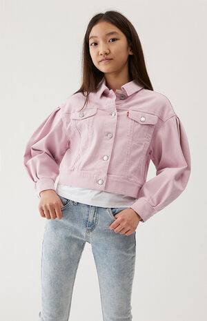 Kids Oversized Pleated Sleeve Trucker Jacket