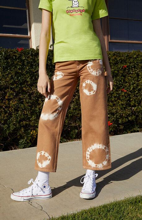 Light Brown Tie Dye Wide Leg Carpenter Jeans