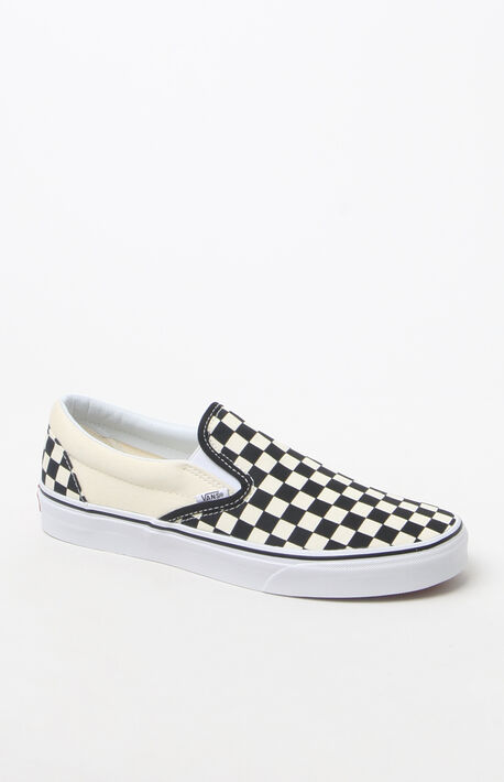 3424d54715 Classic Checkerboard White  amp  Black Slip-On Shoes