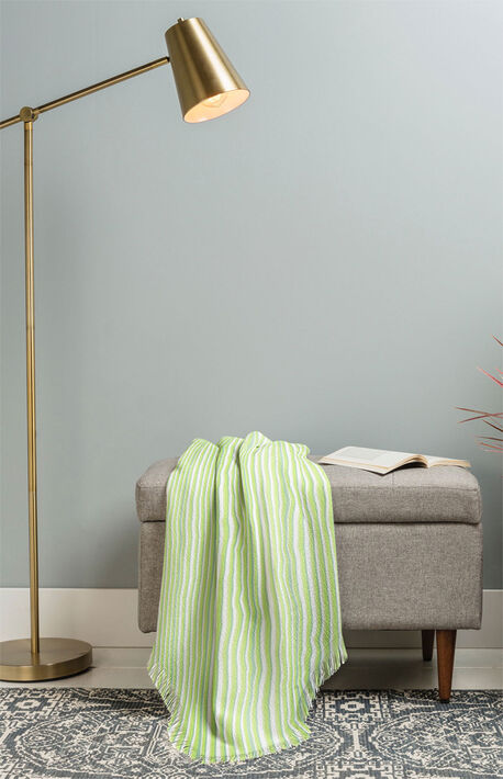 Be Green Stripes Woven Throw Blanket