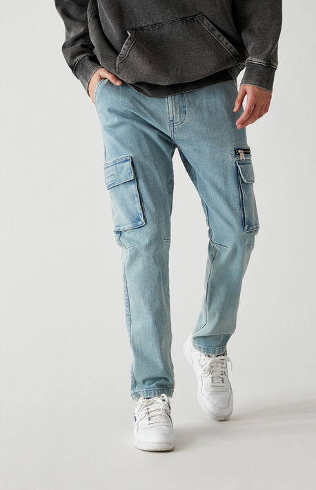 Medium Indigo Slim Taper Cargo Jeans