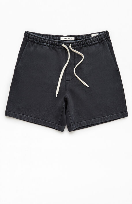 Black Vintage Wash Fleece Drawstring Volley Shorts
