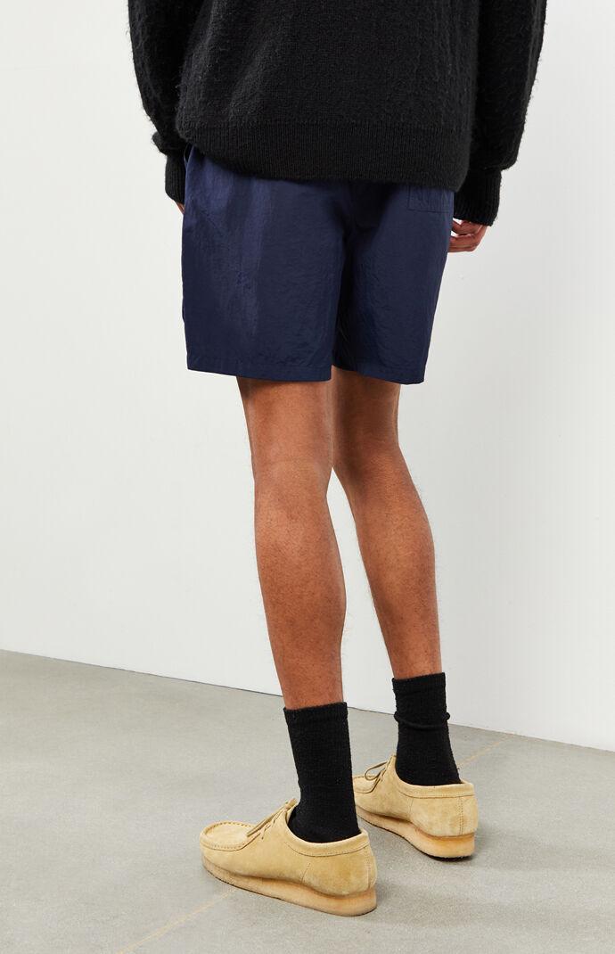 Navy Nylon Cargo Shorts