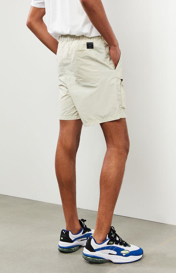 Khaki Nylon Cargo Shorts
