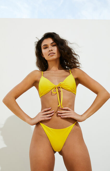Eco Yellow Front Tie Triangle Bikini Top