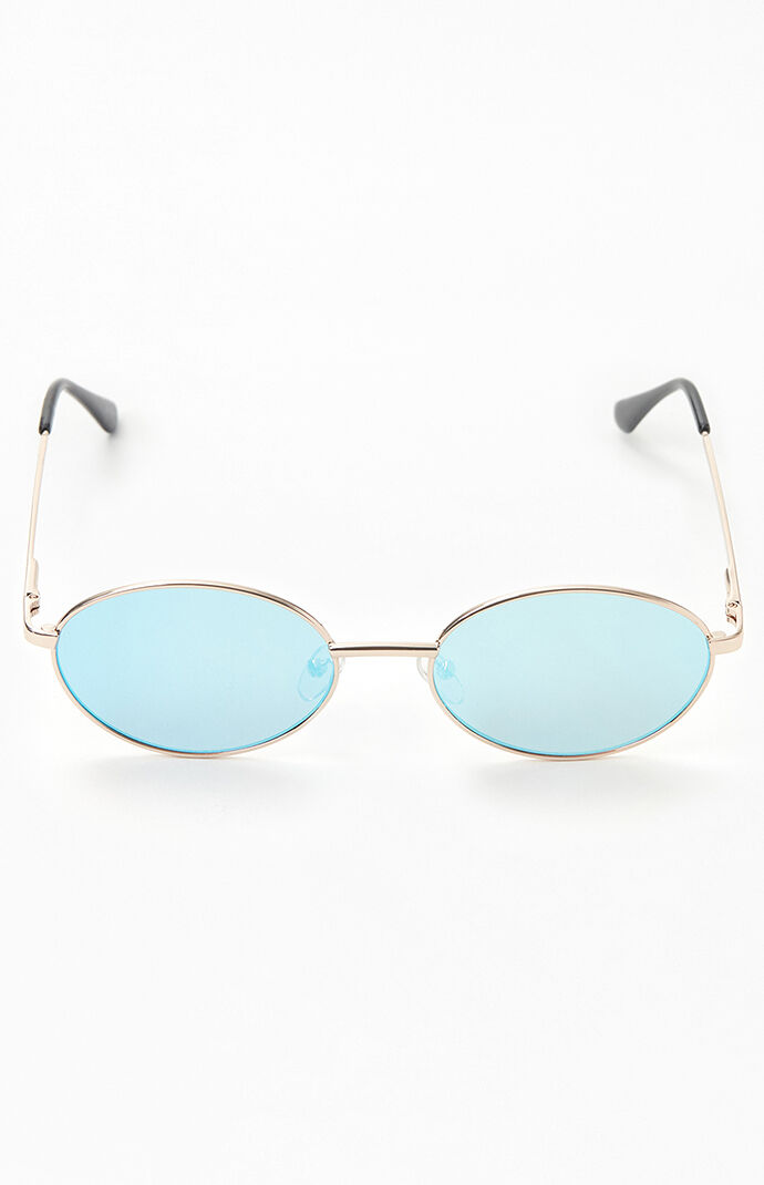 Oval Metal Revo Lens Sunglasses