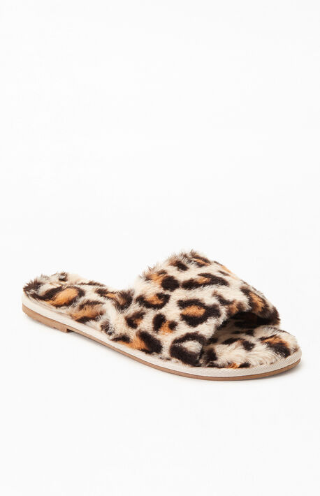 Women's Leopard Fuzzy Slippers