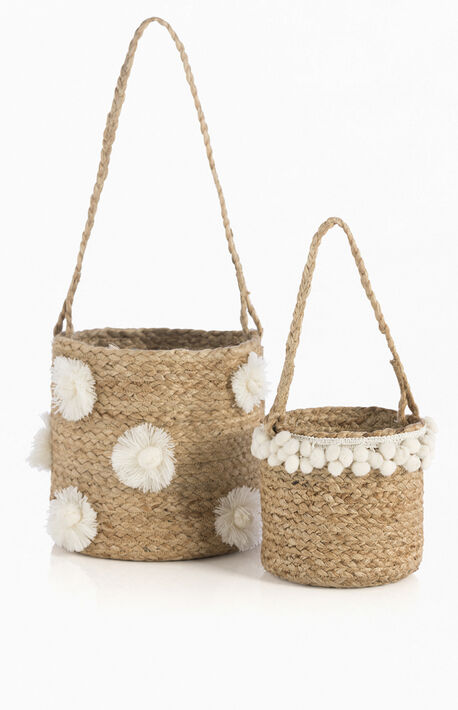 Set Of 2 Natural Hanging Planters