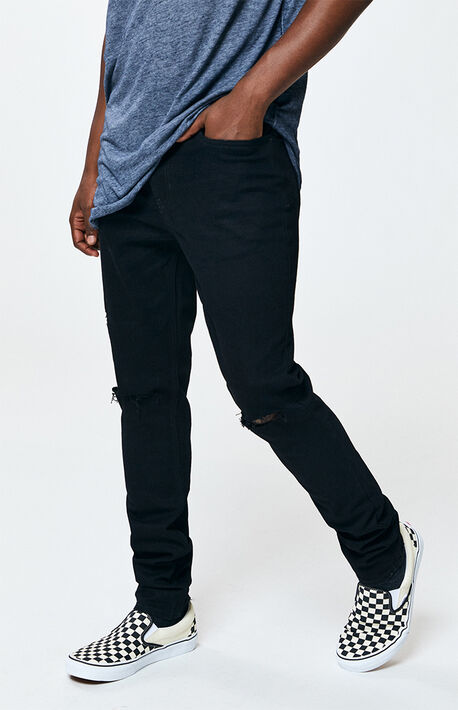 e9be4ddddc48 Black Ripped Stacked Skinny Jeans