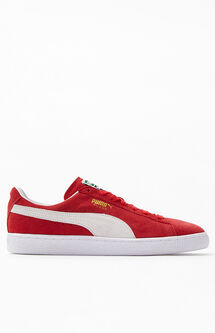 Suede Classic Red & White Shoes