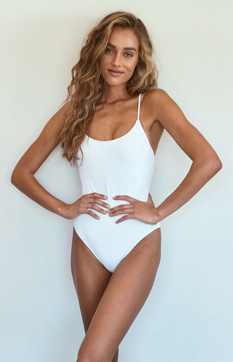 Stay Golden Ribbed One Piece Swimsuit