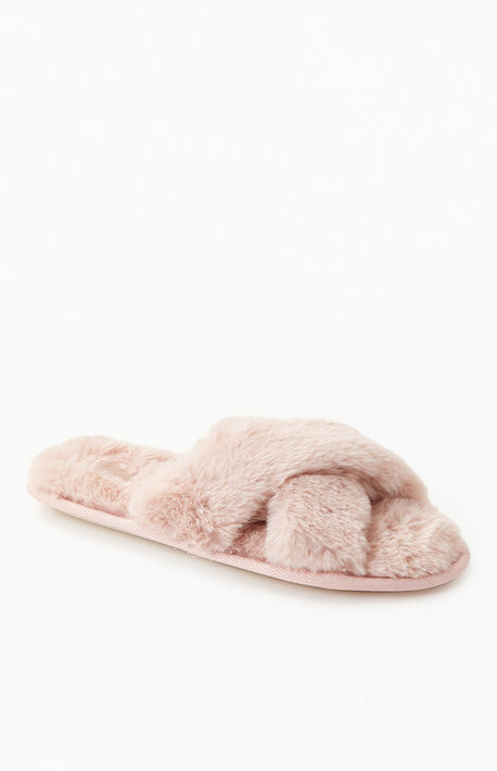 By PacSun Dusk Pink Fuzzy Slippers