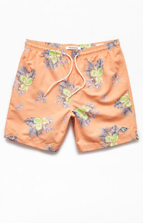"Orange Floral 17"" Swim Trunks"