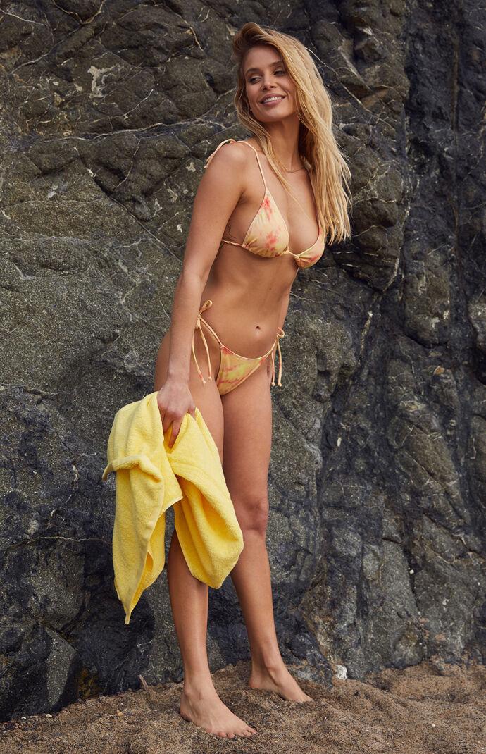 Peach Washed Playa Triangle Bikini Top