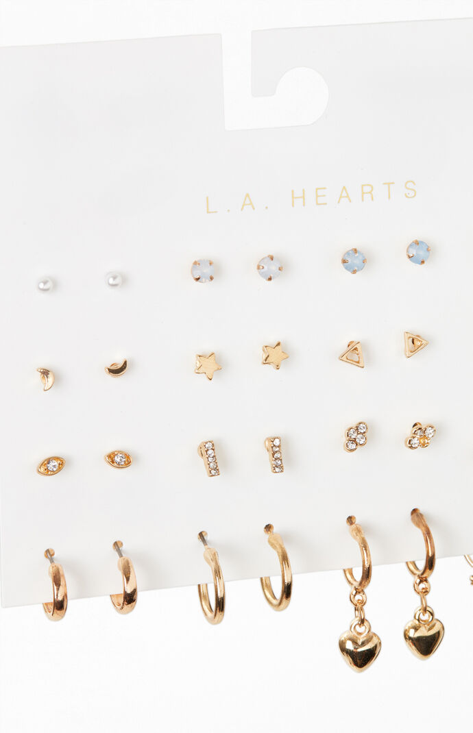 16 Pack Heart And Star Earrings