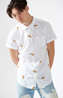 Pizza Party Short Sleeve Button Up Shirt