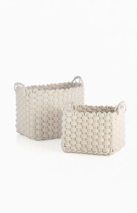 Ivory Dharma 2-Set Rectangle Basket