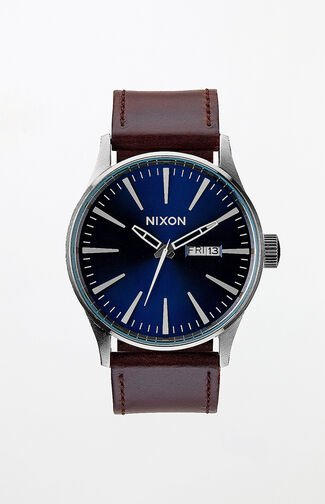Sentry Leather Brown & Blue Watch