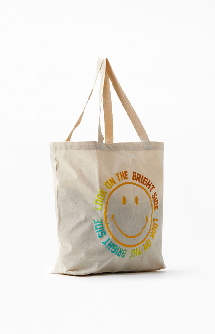Smiley Face Recycled Tote Bag