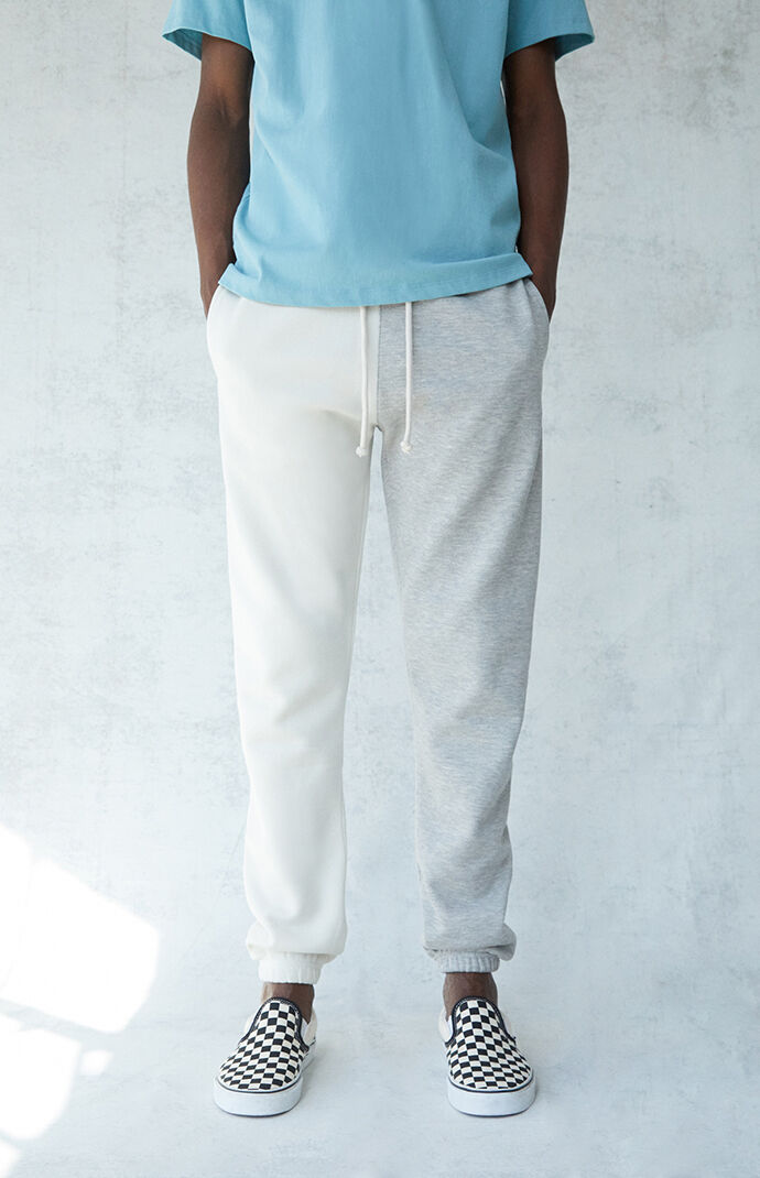 Gray & White Basic Fleece Sweatpants