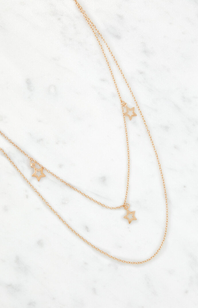 Gold Hollow Star Layered Chain Necklace
