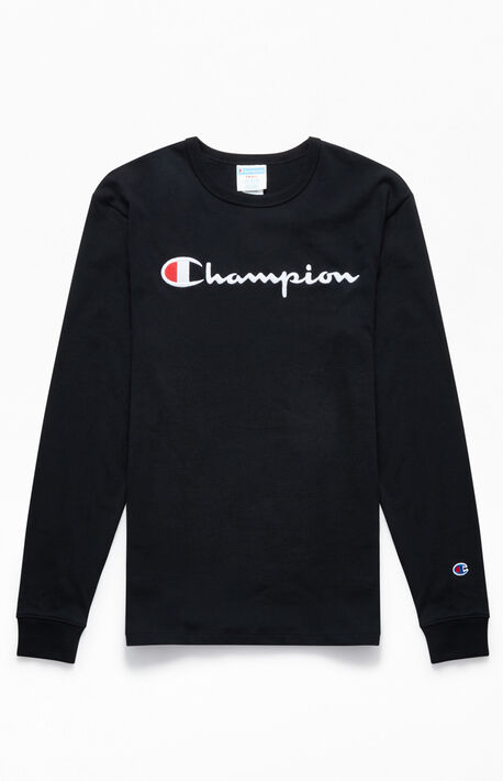 0486bbafe8 Black Heritage Script Long Sleeve T-Shirt. Champion ...