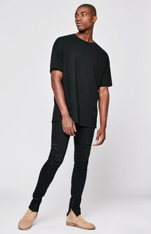 Skinniest Active Stretch Zip Destroy Black Jeans
