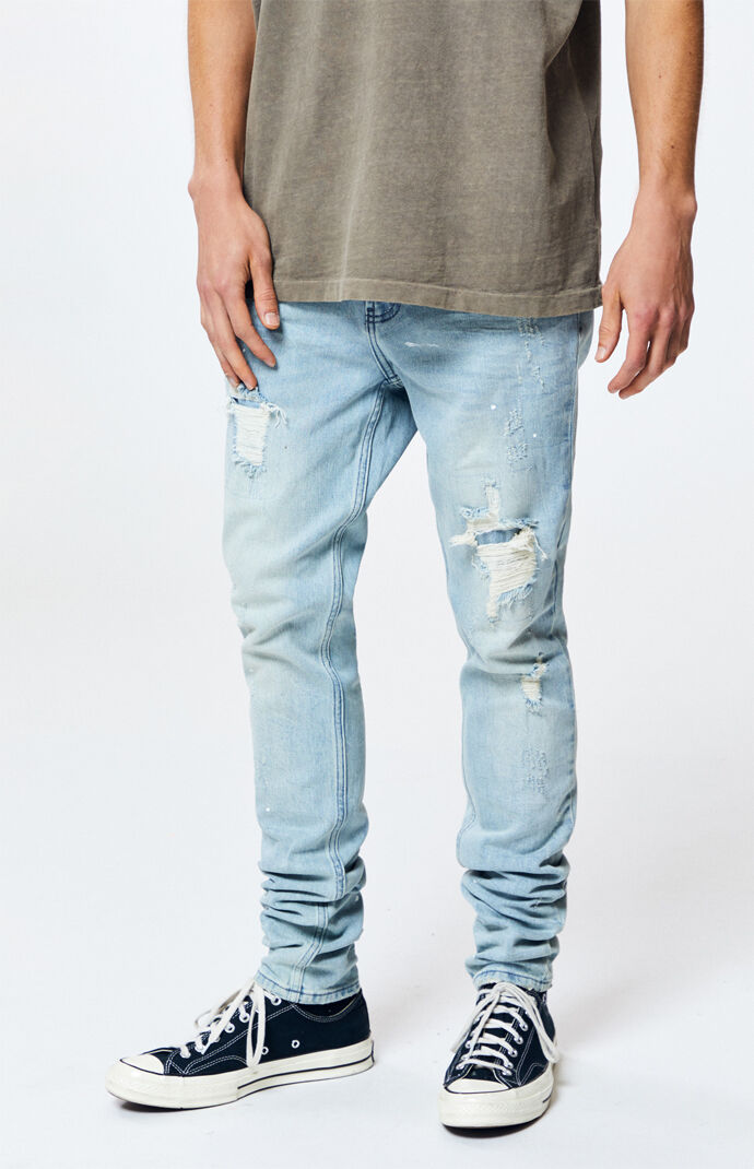 2ccebeb2cef851 Light Stitch & Repair Stacked Skinny Jeans