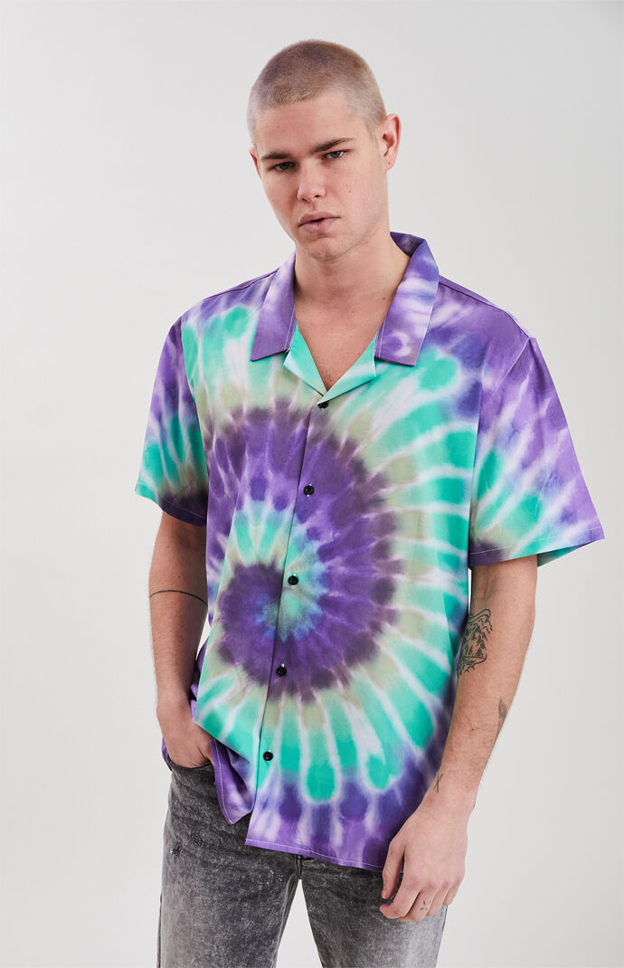 Purple Haze Tie-Dyed Short Sleeve Button Up Shirt