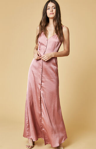 Satin Buttoned Cami Maxi Dress