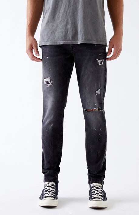 Black Paint Splatter Skinny Jeans