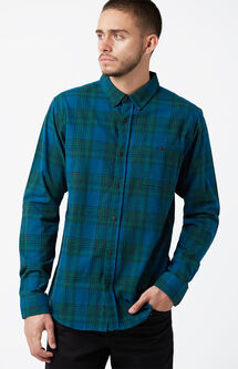 Swamper Plaid Flannel Long Sleeve Button Up Shirt