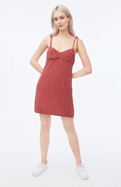 Shirred Tie Strap Mini Dress