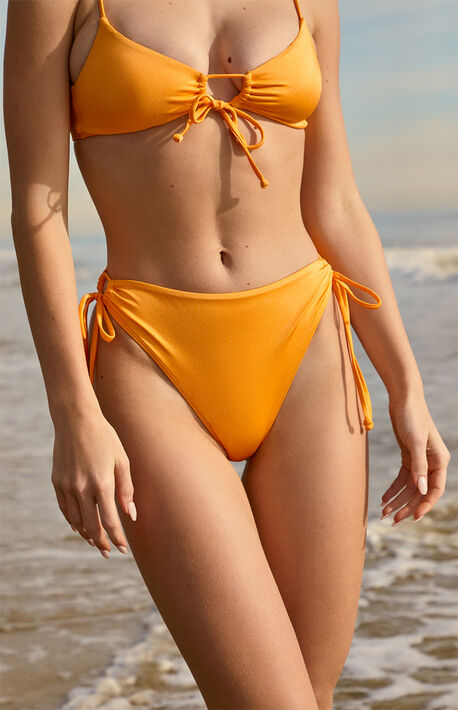 Orange Olivia Tie Side Bikini Bottom