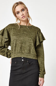 Ruffle Shoulder Pullover Sweater