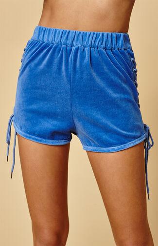 Blue Side Lace-Up Jogger Shorts