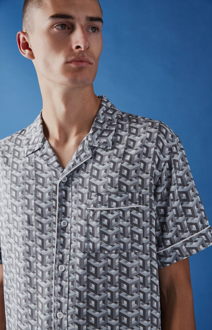 Editor's Choice Geo Short Sleeve Button Up Camp Shirt by Pac Sun