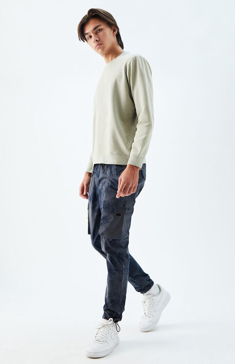 Utility Tie-Dyed Navy Nylon Slim Cargo Pants
