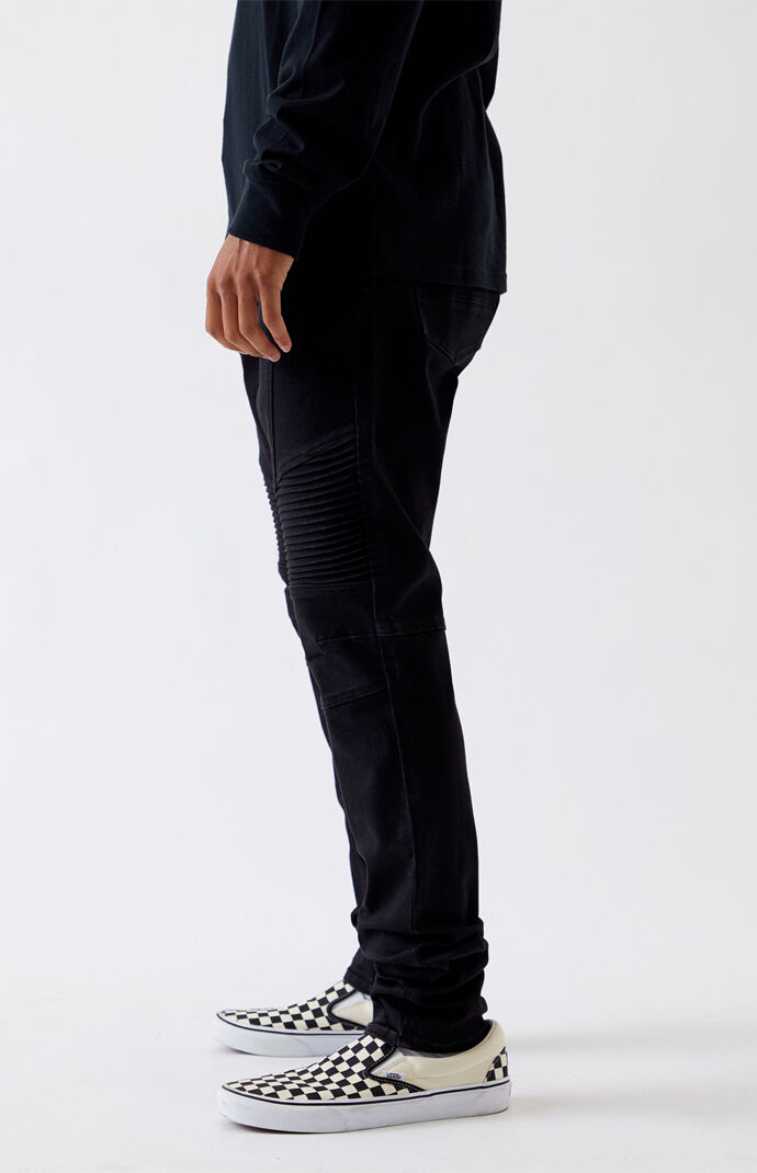 Black Biker Stacked Skinny Jeans