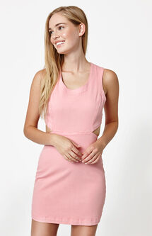 Pink Cutout Denim Dress