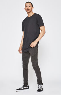 Stacked Skinny Active Stretch Moto Black Stitched Jeans