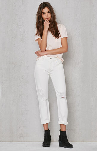 White Tumble 501 CT Ripped Jeans