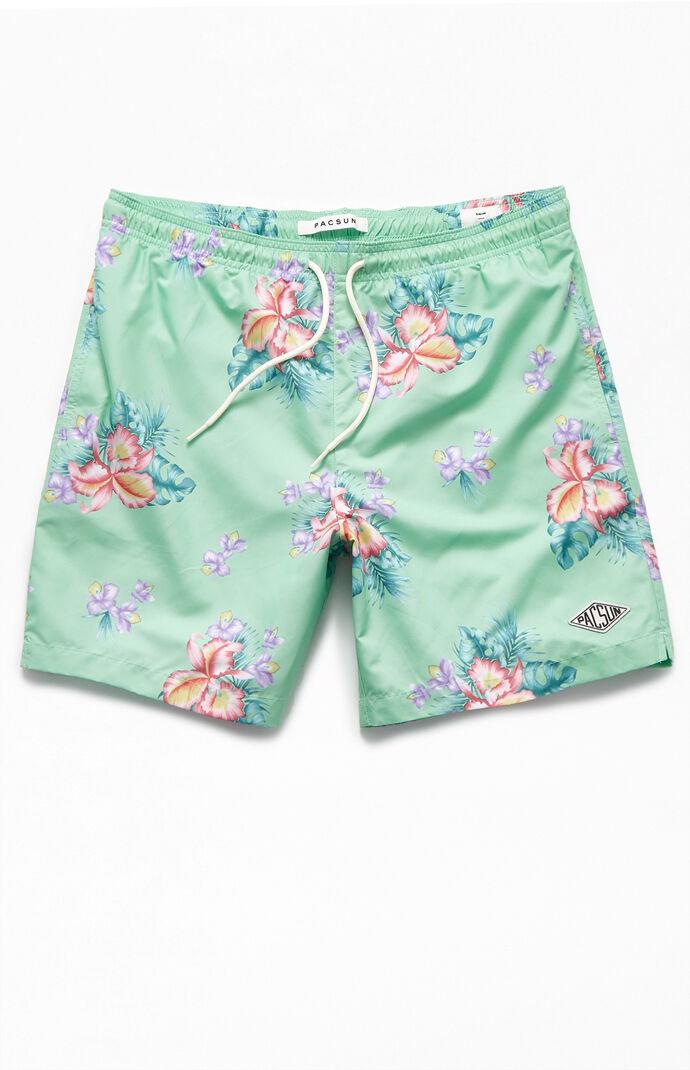"""Mint Floral 16.5"""" Swim Trunks"""