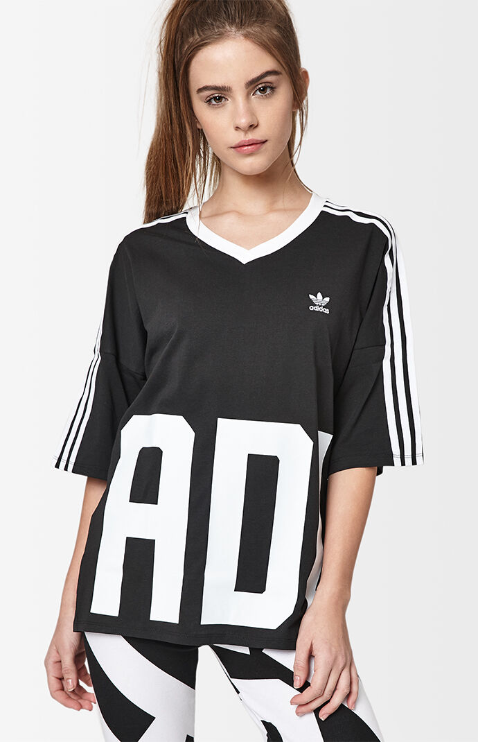 adidas Bold Age V-Neck T-Shirt - Black/white 6865398
