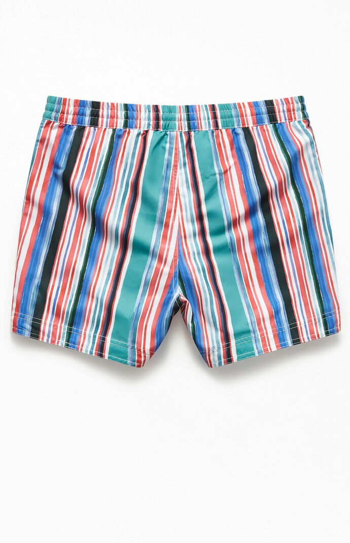 "Multi-Color Striped 15"" Swim Trunks"