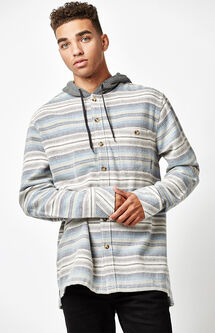Baja Hooded Flannel Long Sleeve Button Up Shirt