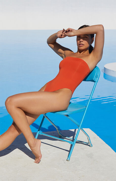 Eco Burnt Orange Sig Strapless One Piece Swimsuit