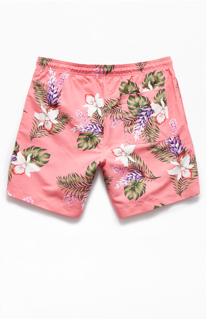 "Coral Floral 16"" Swim Trunks"